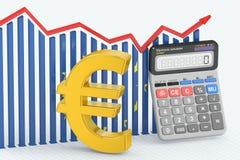 Finances d'affaires, opérations bancaires et diagramme de comptabilité avec le symbole de l'Eu Image stock