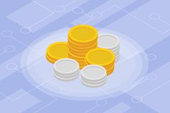 Finances d'isolement isométriques d'investissement de pièce d'or Photographie stock
