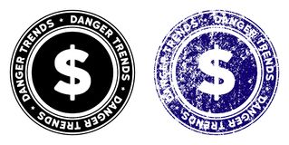 Finances Danger Trends Stamp with Dirty Surface. Finances Danger Trends round stamp in grunge blue and clean black styles. Rubber seal stamp with grunge design royalty free illustration