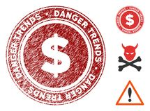 Finances Danger Trends Watermark with Dust Effect. Finances Danger Trends grunge round stamp with warning icon. Vector red seal with distress style for rubber royalty free illustration