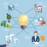 Finances de démarrage d'homme d'affaires de concept d'affaires globales en ligne Photos stock