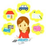 Finances de gestion de famille, dépense illustration stock