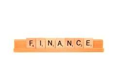 Finances de mot Photographie stock