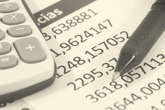 Finances. Detail of Finances in black and white Royalty Free Stock Photography