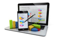Finances devices. Render of an smartphone and a laptop with finances graphics Royalty Free Stock Image