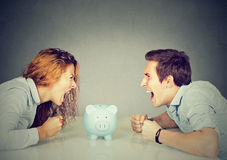 Finances in divorce concept. Wife husband can not make settlement Stock Photos