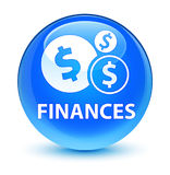 Finances (dollar sign) glassy cyan blue round button Stock Images
