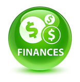 Finances (dollar sign) glassy green round button Stock Images