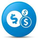 Finances dollar sign icon cyan blue round button Stock Photos