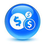 Finances dollar sign icon glassy cyan blue round button Stock Image
