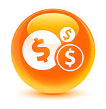 Finances dollar sign icon glassy orange round button. Finances dollar sign icon isolated on glassy orange round button abstract illustration Royalty Free Stock Photos