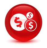 Finances dollar sign icon glassy red round button. Finances dollar sign icon isolated on glassy red round button abstract illustration Royalty Free Stock Image
