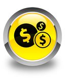Finances dollar sign icon glossy yellow round button. Finances dollar sign icon isolated on glossy yellow round button abstract illustration Stock Image