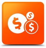 Finances dollar sign icon orange square button. Finances dollar sign icon isolated on orange square button abstract illustration Royalty Free Stock Photos