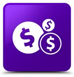 Finances dollar sign icon purple square button. Finances dollar sign icon isolated on purple square button abstract illustration Stock Image