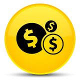 Finances dollar sign icon special yellow round button. Finances dollar sign icon isolated on special yellow round button abstract illustration Stock Image