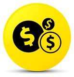 Finances dollar sign icon yellow round button. Finances dollar sign icon isolated on yellow round button abstract illustration Stock Photography