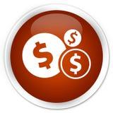 Finances dollar sign icon premium brown round button. Finances dollar sign icon isolated on premium brown round button abstract illustration Stock Images