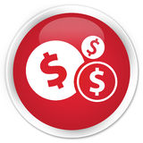 Finances dollar sign icon premium red round button Royalty Free Stock Images