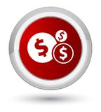 Finances dollar sign icon prime red round button. Finances dollar sign icon isolated on prime red round button abstract illustration Royalty Free Stock Image