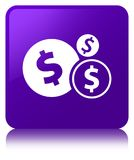 Finances dollar sign icon purple square button. Finances dollar sign icon isolated on purple square button reflected abstract illustration Stock Photos
