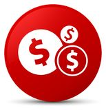 Finances dollar sign icon red round button. Finances dollar sign icon isolated on red round button abstract illustration Royalty Free Stock Photography