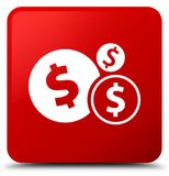 Finances dollar sign icon red square button Royalty Free Stock Photo