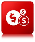 Finances dollar sign icon red square button Royalty Free Stock Images