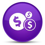 Finances dollar sign icon special purple round button. Finances dollar sign icon isolated on special purple round button abstract illustration Royalty Free Stock Photo