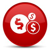 Finances dollar sign icon special red round button. Finances dollar sign icon isolated on special red round button abstract illustration Royalty Free Stock Image