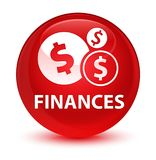 Finances (dollar sign) glassy red round button Stock Photos
