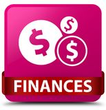 Finances (dollar sign) pink square button red ribbon in middle Royalty Free Stock Images