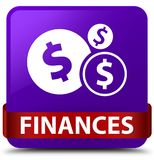 Finances (dollar sign) purple square button red ribbon in middle Stock Image
