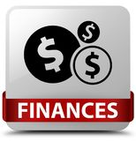 Finances (dollar sign) white square button red ribbon in middle Stock Photography
