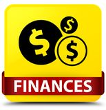 Finances (dollar sign) yellow square button red ribbon in middle Stock Photography