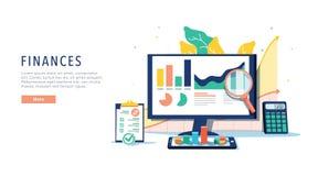 Finances et concept mobile innovateur de technologie Vecteur des applis et des services financiers sur l'ordinateur portable et m illustration libre de droits