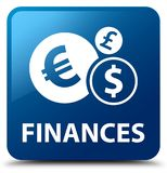 Finances (euro sign) blue square button. Finances (euro sign) isolated on blue square button abstract illustration Stock Images
