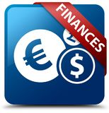Finances (euro sign) blue square button red ribbon in corner. Finances (euro sign) isolated on blue square button with red ribbon in corner abstract illustration Stock Images