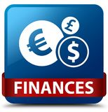 Finances (euro sign) blue square button red ribbon in middle. Finances (euro sign) isolated on blue square button with red ribbon in middle abstract illustration Royalty Free Stock Photos