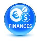 Finances (euro sign) glassy cyan blue round button Royalty Free Stock Photo