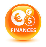 Finances (euro sign) glassy orange round button. Finances (euro sign) isolated on glassy orange round button abstract illustration Royalty Free Stock Photo