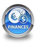Finances (euro sign) glossy blue round button. Finances (euro sign) isolated on glossy blue round button abstract illustration Royalty Free Stock Photos