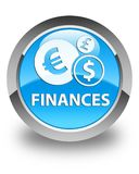 Finances (euro sign) glossy cyan blue round button. Finances (euro sign) isolated on glossy cyan blue round button abstract illustration Royalty Free Stock Photography