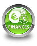 Finances (euro sign) glossy green round button. Finances (euro sign) isolated on glossy green round button abstract illustration Stock Images