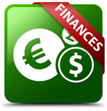 Finances euro sign green square button. Reflecting shadow with red ribbon in corner Stock Photo