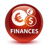 Finances (euro sign) glassy brown round button Stock Photography