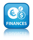 Finances (euro sign) special cyan blue square button. Finances (euro sign) isolated on special cyan blue square button reflected abstract illustration Royalty Free Stock Photos