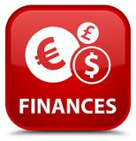 Finances (euro sign) special red square button Stock Photos