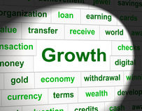 Finances Growth Represents Rise Commerce And Investment. Growth Finances Indicating Accounting Gain And Expansion Stock Photography