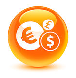 Finances icon glassy orange round button. Finances icon isolated on glassy orange round button abstract illustration Stock Photos
